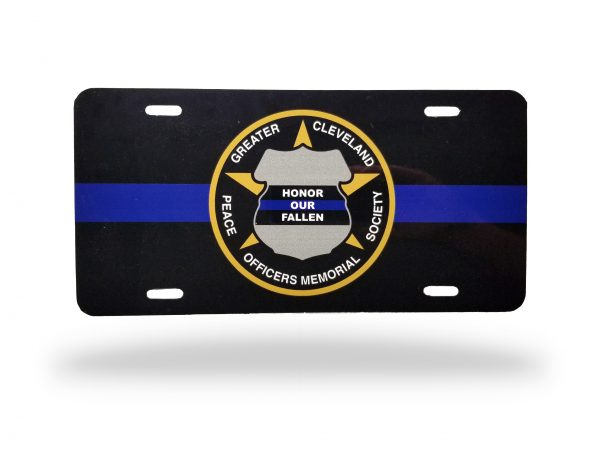 GCPOMS Decorative License Plate with the GCPOMS seal centered over a thin blue line motif
