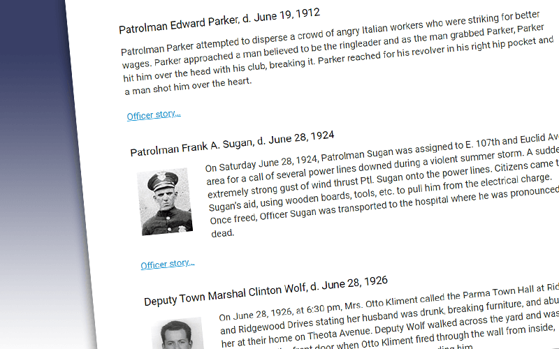 illustration for June officers remembered